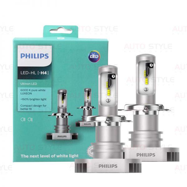 Комплект диодных ламп PHILIPS 11342ULWX2 H4 Ultion +160% 6200K LED лампы Philips Ultion +160% H4 6200K 11342ULWX2 (2 шт.)